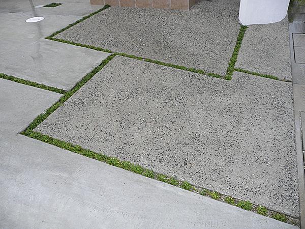四角い敷石と草目地